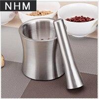 NHM 1 pcs 304 stainless steel garlic tamper medicine pot dish garlic crusher stone mortar crushing auxiliary food grinder mortar