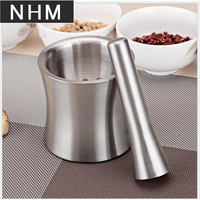 NHM 1 pcs 304 stainless steel garlic tamper medicine pot dish garlic crusher stone mortar crushing auxiliary food grinder mortar