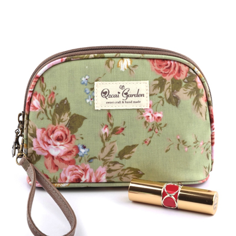 THINKTHENDO Travel Cosmetic Bag Flower Floral Hand Holding Makeup Case Zipper Makeup Bags Casual Holders Women New Arrival