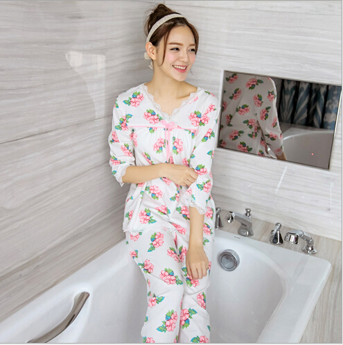 High quality spring Pastoral style Pajama Sets Long Sleeve women flower style Sleepwear Cotton Pajamas sets lace nightgowns2266