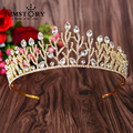 New Arrival Gorgeous Clear Rhinestone Princess Tiara Fashion Golden Leaves Diadem for Bride Wedding Hair jewelry accessories