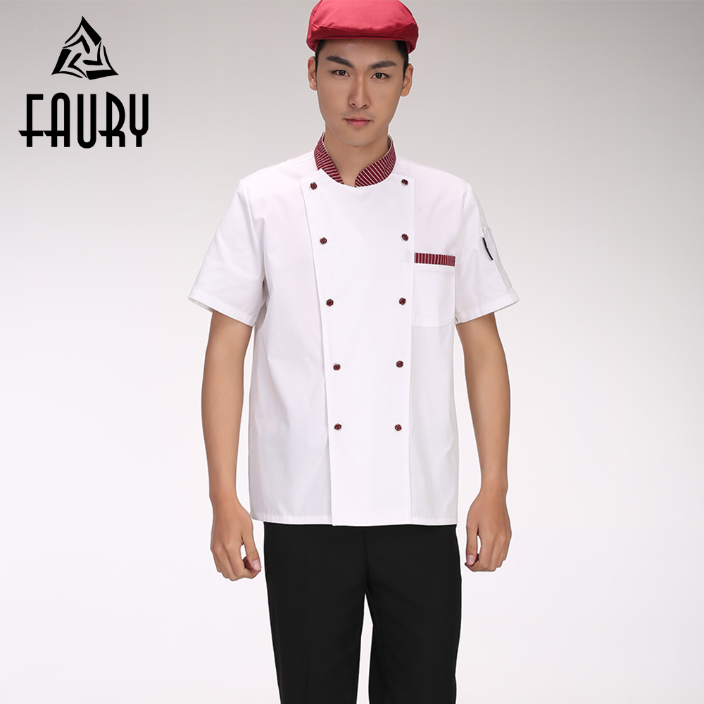 Men Striped Collar Double Breasted Short-sleeved Summer Breathable Cozinha Cook Restaurant Chef Kitchen Work Uniform M-3XL