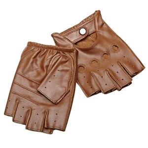 Image 4 - High Quality Mans Half Finger Gloves Breathable Non Slip Fitness Leather Fingerless Gloves Black Camel Driving Gloves Male NAN7
