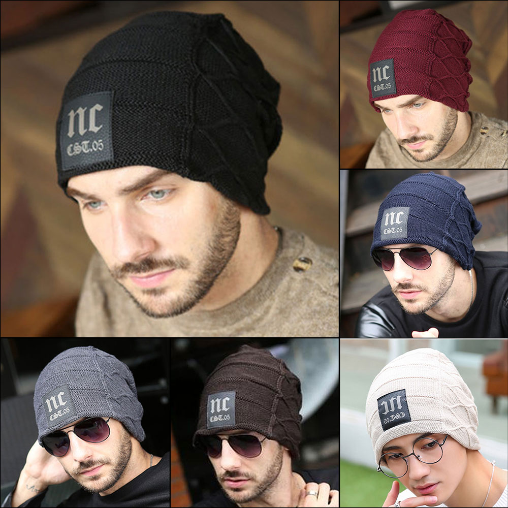 1pc Men's Winter Hat Fashion Knitted Black Color Hats Fall Hat Thick Warm Bonnet Skullies Beanie Soft Knitted Beanies Cotton Cap Good Reputation Over The World