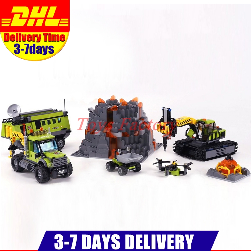 DHL Lepin 02005 889Pcs City Volcano Exploration Base DIY Building Blocks Bricks Toys children Gifts Clone 60124 lepin 02005 volcano exploration base building bricks toys for children game model car gift compatible with decool 60124