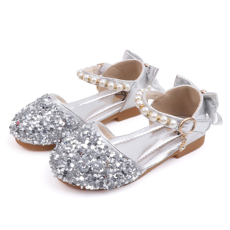 Summer Baby Girls Shoes Breathable Rhinestone Pearls Design Anti-Slip Shoes Casual Sneakers Toddler Soft Soled Shoes For Girls