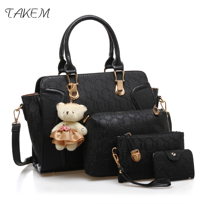TAKEM luxury 4 pcs/set Handbags Female Tassel top-handle Women Solid Shoulder Bags Women Messenger Bag PU Leather Composite Bag pongwee 2017 women messenger bags handbag set pu leather composite bag women bag top handle bags female famous brand