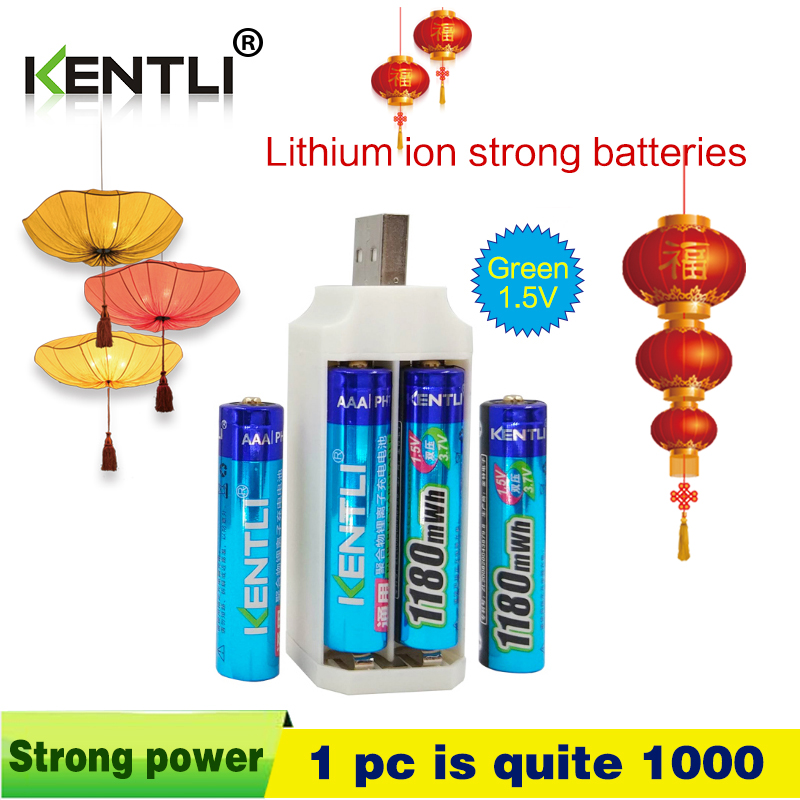 4pcs KENTLI 1.5v 1180mWh aaa polymer lithium li-ion rechargeable batteries battery + 4 slots lithium li-ion charger solar charger special single section li ion battery charging board lithium polymer battery