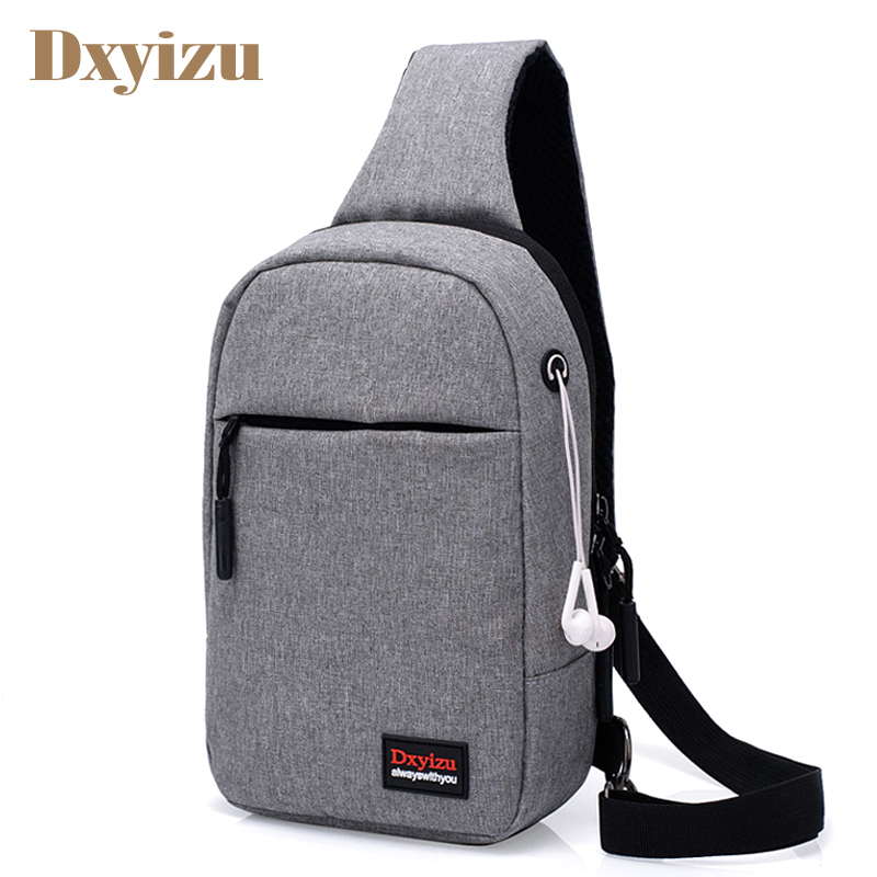 Men Messenger Bags With Earphone Hole Nylon Crossbody Bags Daily Crutch Single Strap Shoulder Bags For Phone Laptop Chest Bag
