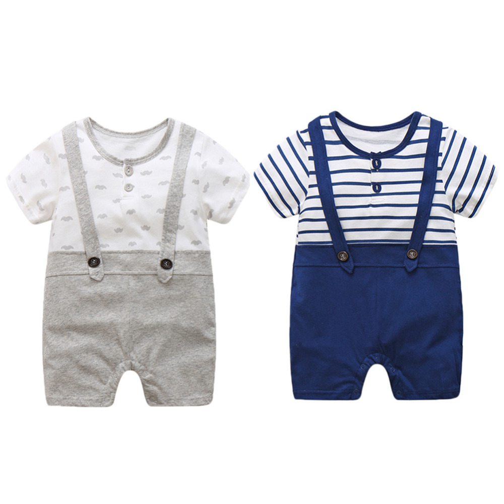 2017 summer baby boys clothing  baby Gentleman short sleeve rompers Overalls newborn clothes Cotton Jumpsuit 2 style newest 2016 summer baby rompers clothing short sleeve 100