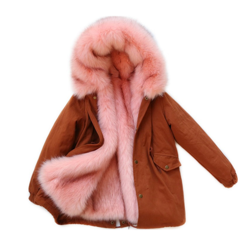 -30 Degree Children Winter Coat 2018 Girls Thicken Cotton Faux Fox Fur Liner Parkas Kids Long Hooded Jacket Outerwear Super Warm 2015 new hot winter thicken warm woman down jacket coat parkas outerwear hooded splice mid long plus size 3xxxl luxury cold