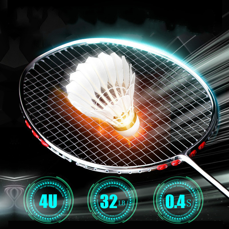Professional 4U 82g Ultralight Full Carbon Badminton Racket Racquet Plating Process 22-32LBS Sport Competition Badminton Rackets
