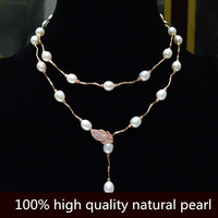 Really Zircon leaves buckle 8 9mm Big natural pearl Necklace long necklace Sweater chain necklace for women Free shipping