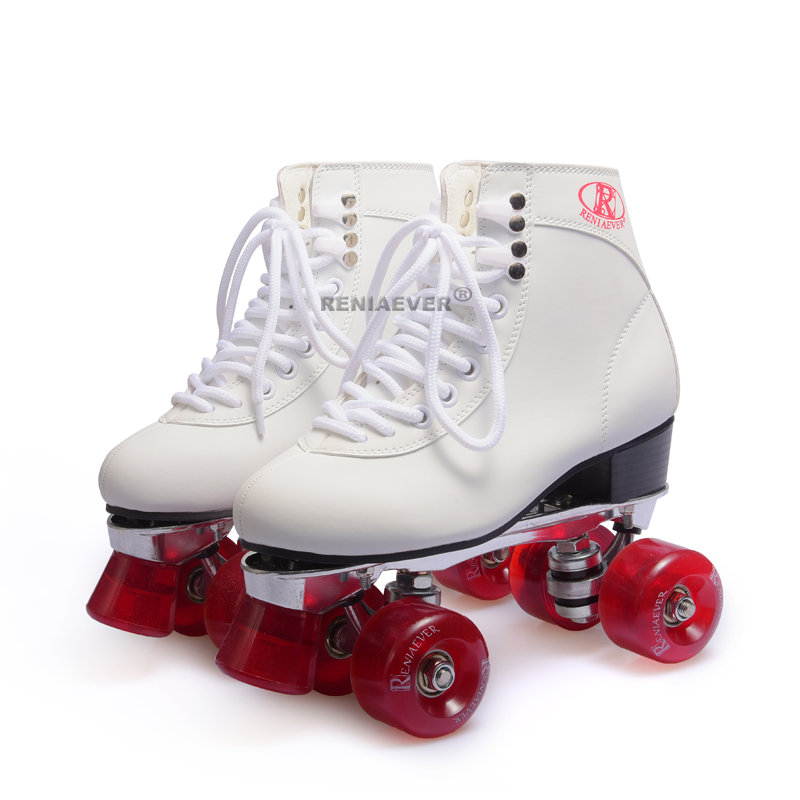 RENIAEVER gift Double row roller skates aluminum alloy base  girl's  skating shoe 4 wine red wheels,white видеоигра бука saints row iv re elected