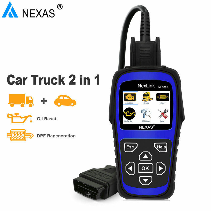 NEXAS NL102P OBD/EOBD Code Reader Diagnostic Scan tool For Car/Heavy Duty Truck 2 in 1 Scan Tool Truck Force DPF Regen Oil Reset цены онлайн