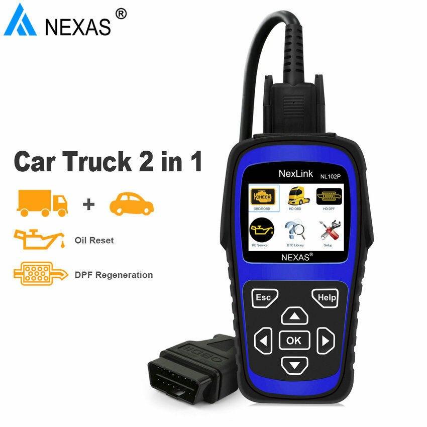 NEXAS NL102P OBD/EOBD Lettore di Codice Scan tool di Diagnostica Per Auto/Heavy Duty camion 2 in 1 Strumento di Scansione Camion Forza DPF Rigenerazione Olio Reset