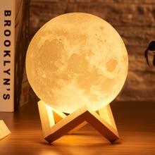 Rambery moon лампа с 3d принтом, Ночной светильник, перезаряжаемый, 3 цвета, с управлением, светильник s, 16 цветов, сменный, дистанционный, светодиодный, лунный светильник, подарок