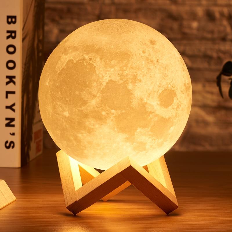 Rambery луна лампа 3d принт ночник перезаряжаемые 3 цветной кран управление загорается 16 цвета изменить удаленный светодиоды лунного света пода...