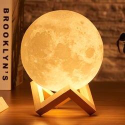 Rambery луна лампа 3d принт ночник перезаряжаемые 3 цветной кран управление загорается 16 цвета изменить удаленный светодиоды лунного света