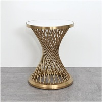 """30pcs PACK 58cm(22"""") High Tea Table / 45cm(18"""" ) Round White Marble Top / Small Coffee Table Metal Drum Stand with Golden Finish