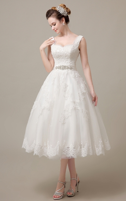 Tea Length Wedding Dresses with Corset