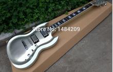 Sg benutzerdefinierte gitarre form mit cnc arbeits oberkörper kontur form, streifen fertigen glanz, chrome teile!