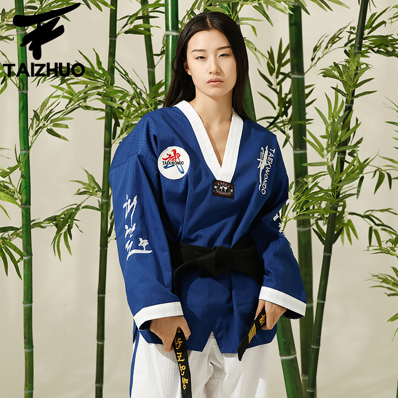 New Adult Male Female taekwondo uniform with embroidery WTF Approved Taekwondo dobok Suit for sale junior dan taishan poomsae poom dobok male men taekwondo taishan poomsae poom dobok female women adults child red black collar