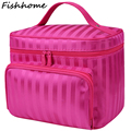 Plaid Cosmetic Bag Women Striped Waterproof Toiletry Kit Wash Necessaire Travel Organizer Professional Make up Bags  CQ94