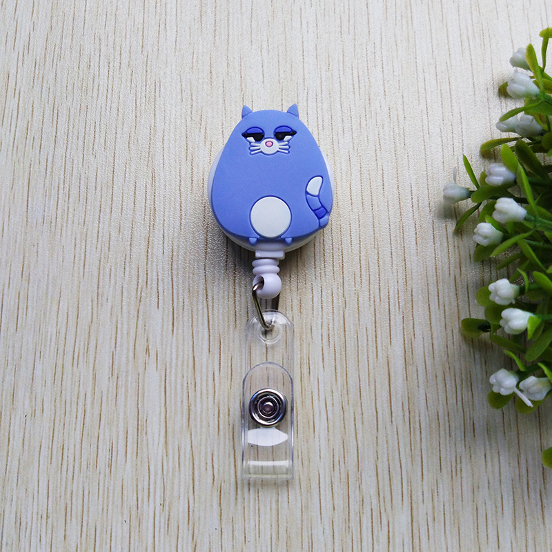 1pcs Silica Gel Lovely Animal Badge Reel  Bus Card Student Nurse ID Name Card PU Horizontal Badge Holder 60cm Retractable Reel