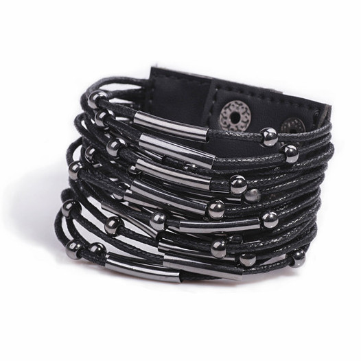 Bracelet Fashion Black Punk Lether Bracelets for Women s