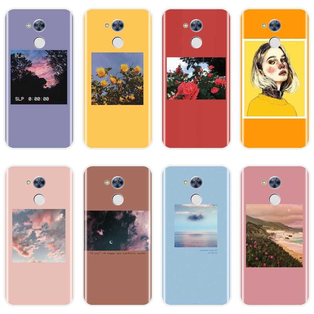 Soft Silicone Phone Case For Huawei Honor 4C 5C 6A 6C Pro Yellow Flower Girl Purple Back Cover For Huawei Honor 6 5A 4X 5X 6X