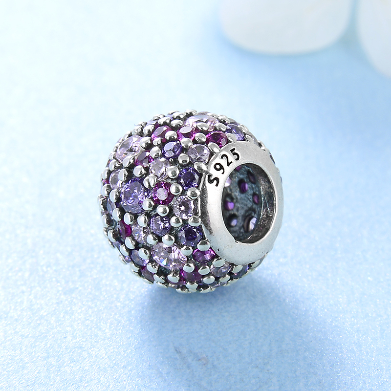 925 sterling silver Delicate purple pink zircon round DIY accessories beads Fit Original Pandora Charm Bracelet Jewelry making