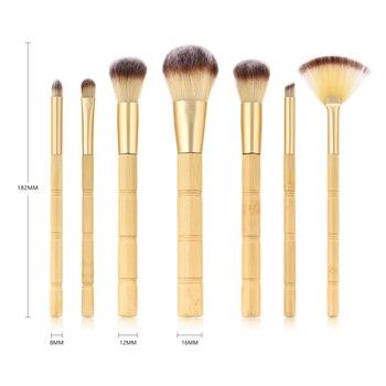 BBL 7pcs Bamboo Makeup Brushes Set Portable Face Powder Highlighter Blush Concealer Tapered Blending Eyeshadow Eyebrow Brush Kit 6