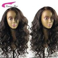 Карина бразильские Свободные волны полные кружевные волосы парики с волосами младенца вокруг крышки Remy натуральные волосы Glueless парики отб