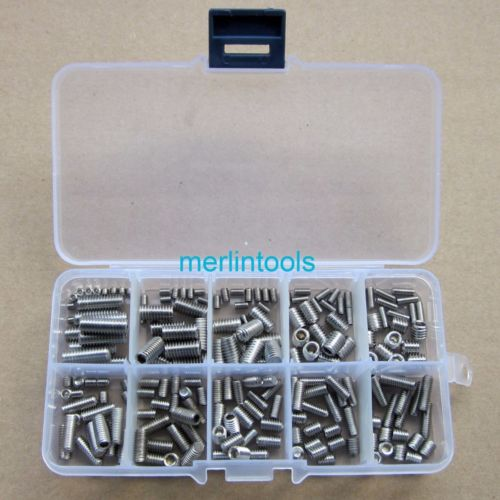 200Pcs Stainless Steel Hex Socket Set Screw Assortment Kit 20pcs m3 6 m3 x 6mm aluminum anodized hex socket button head screw