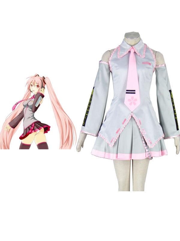 Free Shipping Vocaloid Silvery Sakura Hatsune Miku Cosplay Costumes