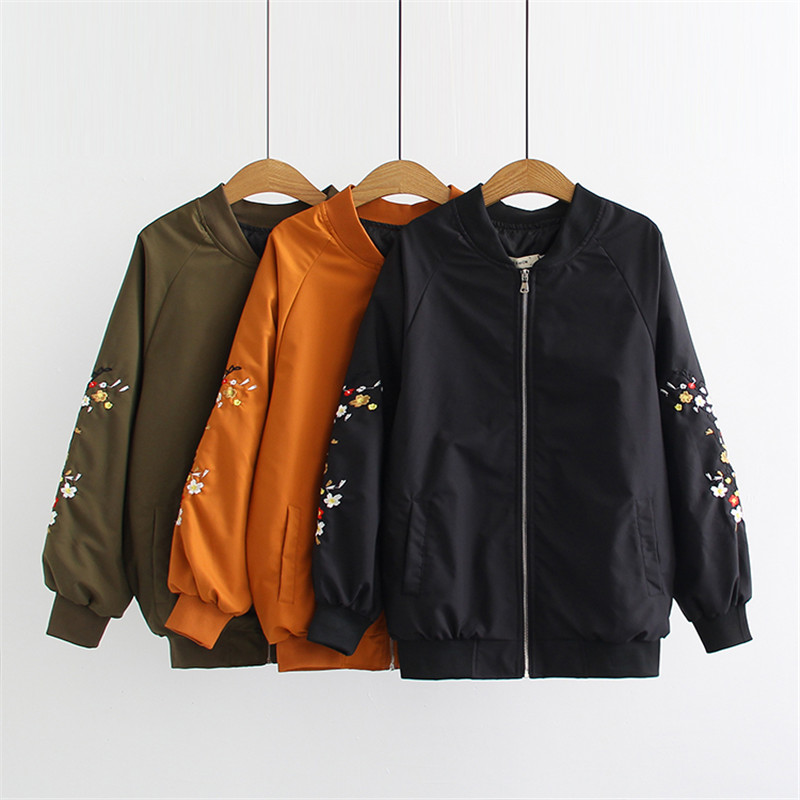 Oversized Women   Jacket   Autumn New loose Flower Embroidery Zipper Pocket   Jacket   Long-Sleeve   Basic     Jacket   Plus Size Outerwear