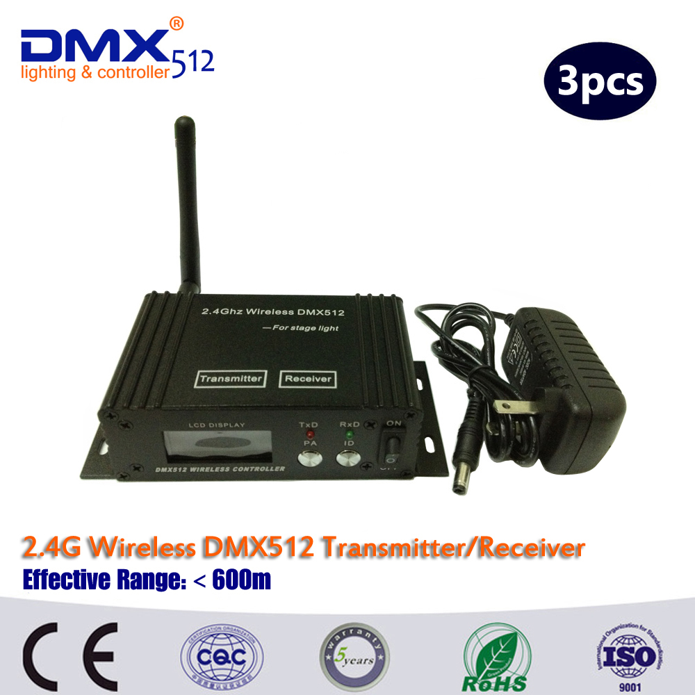 DHL/Fedex Free shipping 3PCS Wireless DMX Receiver And Wireless DMX Transmitter LED Lighting Wireless DMX Controller box dhl free shipping 10pcs dmx512 wireless receiver and transmitter for stage lighting