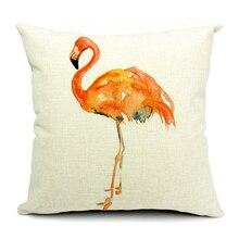Flamingo Cartoon Cushion Cover Pillow Case Home Decor Almofadas 18*18inch Printed Linen Cotton Hotel Lobby Decoration