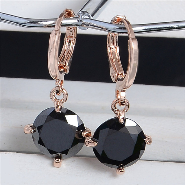 b10243c94 SHUANGR Hot Sale Black Crystal Rhinestone Ear Jewelry Gold Color Cubic  Zirconia Drop Earring For Women