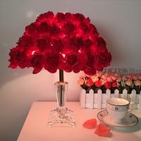 Crystal lamp bedroom bedside table lamp European creative wedding marriage room warm rose wedding Table lamp FG771