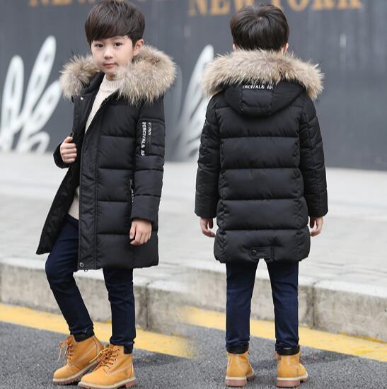 c1f46afba7f4 2018 Детский пуховик, длинное плотное зимнее пальто для мальчиков, детские  зимние куртки на утином