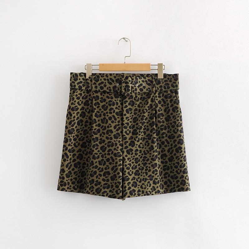 Women Vintage Leopard Print Sashes Short Pants Elegant Ladies Animal Pattern Zipper Casual Shorts Chic Pantalones Cortos P209