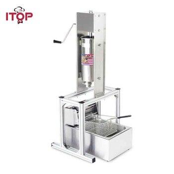 ITOP Heavy Duty 5L ручной аппарат для приготовления испанских пончиков Чуррос из нержавеющей стали с 6L электрической 220В фритюрницей