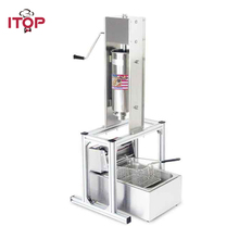 ITOP Heavy Duty 5L Manual Spanish Churros Machine Maker Stainless Steel With 6L Electric 220V Deep Fryer Churro Filler
