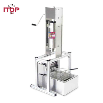 ITOP Heavy Duty 5L Manual Spanish Churros Machine Maker Stainless Steel With 6L Electric 220V Deep Fryer Churro Maker Filler free shipping doulbe head 220v electric churros maker machine