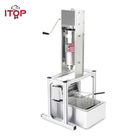 ITOP Heavy Duty 5L Manual Spanish Churros Machine Maker Stainless Steel With 6L Electric 220V Deep Fryer Churro Maker Filler