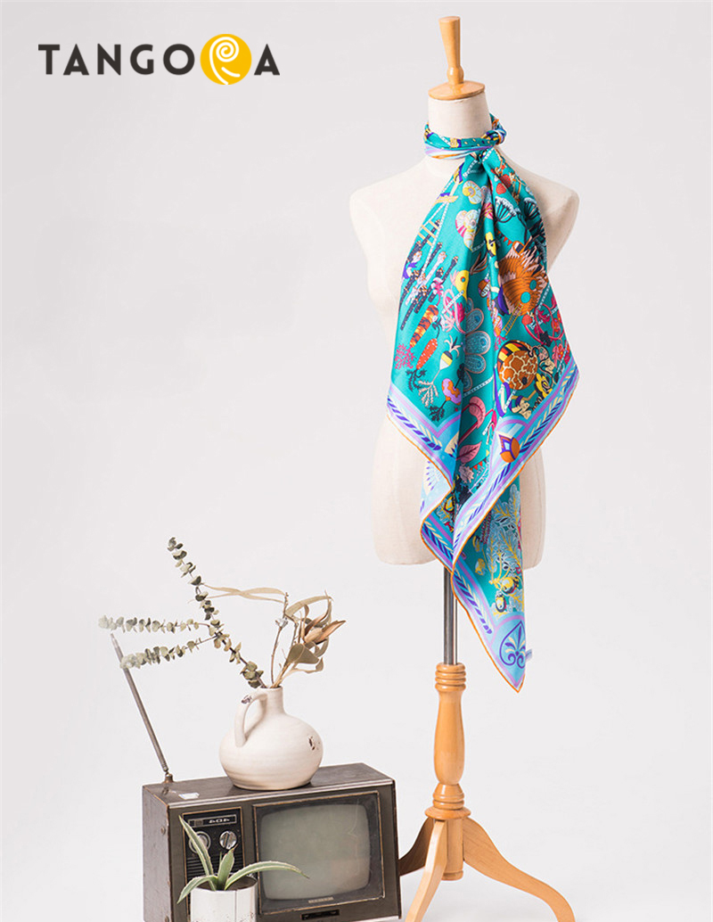 100 Real Silk Big Size Square Women Summer Scarves 90x90cm 2017 Woman Printed Scarf Hijab Shawls