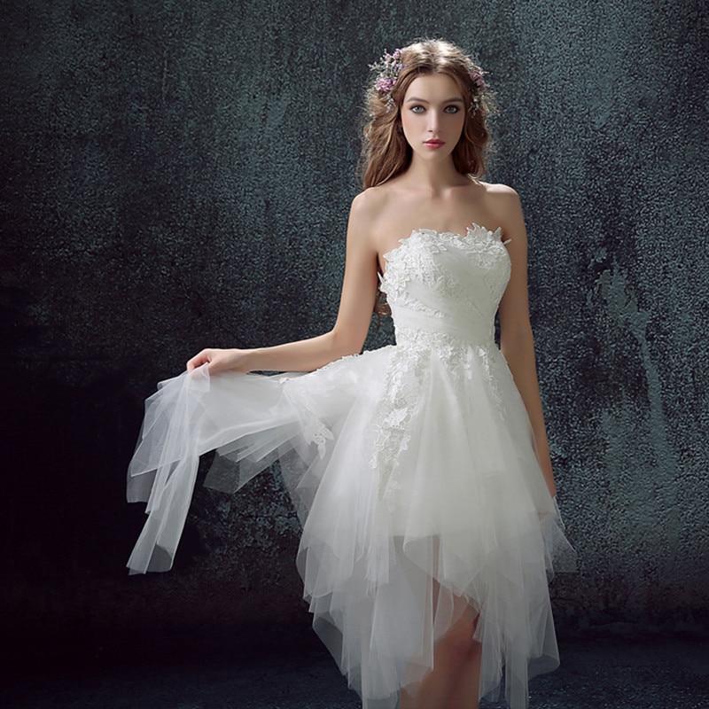 Vestido de noiva ball gown off shoulder sleeveless for White high low wedding dress