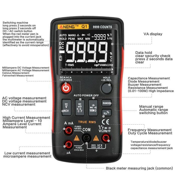Q1 Digital Multimeter Count With Bar Graph Analog Ohm Transistor 2 x 1.5V AA batteries (Not Included) TesterQ1 Digital Multimeter Count With Bar Graph Analog Ohm Transistor 2 x 1.5V AA batteries (Not Included) Tester